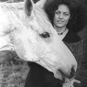Caroline Ingraham with a White Welsh Hill Horse